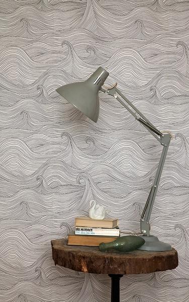 【進口牆紙】 波浪 插畫 英國壁紙 Abigail Edwards  【訂貨單位52cm×10m/卷】 Seascape winter