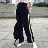 EASON SHOP GU8806 實拍百搭簡約側邊撞色拼接鬆緊腰收腰雙口袋休閒褲女高腰直