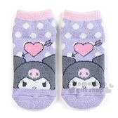 〔小禮堂〕酷洛米 成人保暖襪《紫.點點.大臉》23-25cm.短襪.絨毛襪 4901610-76133
