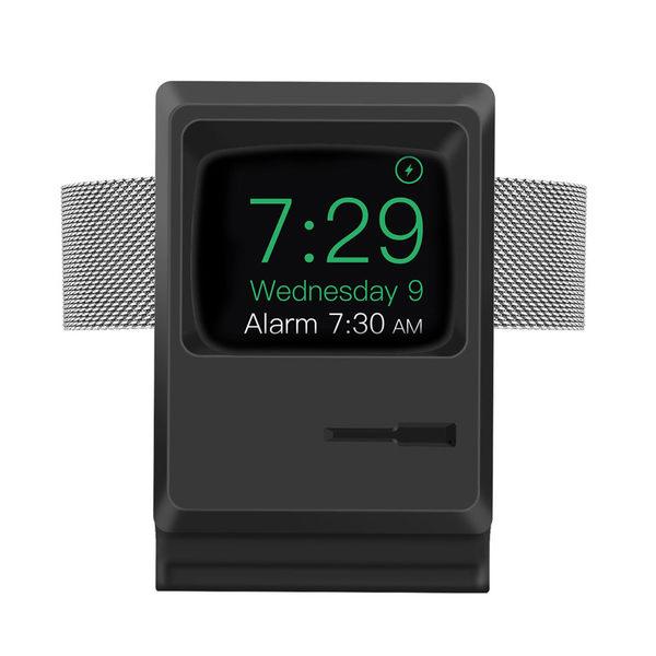蘋果 復古 麥金塔 造型 apple watch 1 2 3 4 5 代 通用款 充電架 矽膠底座 手錶展示架
