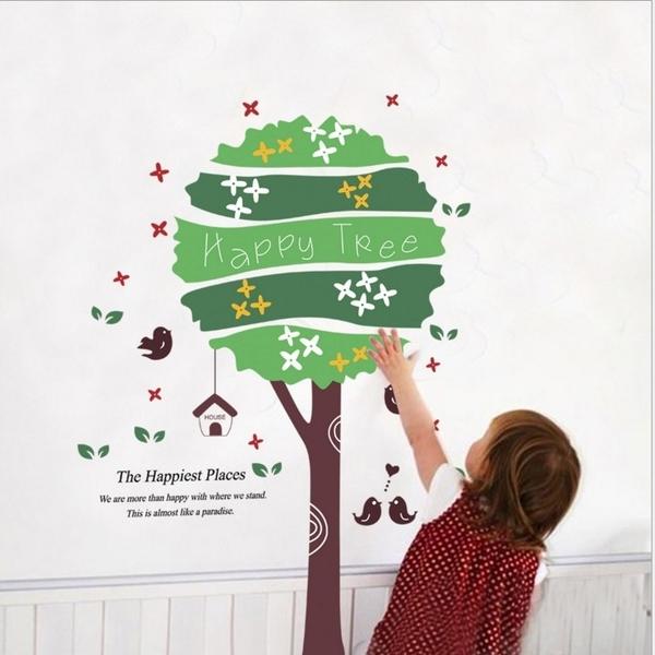 ►壁貼 幸福樹 可移除PVC透明膜牆貼紙家裝貼【A3024】