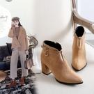 大尺碼女鞋  2019新款歐美時尚帥氣絨皮扣帶環尖頭高跟短靴~3色