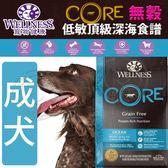 【zoo寵物商城】Wellness寵物健康》CORE無穀成犬低敏頂級深海食譜-22lb/9.97kg