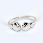 戒指 925純銀 鑲鑽-潮流艷麗生日情人節禮物女開口戒2款73dt430【時尚巴黎】