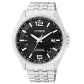 CITIZEN Eco-Drive 電波時計腕錶/黑面/五局電波/CB0011-77E