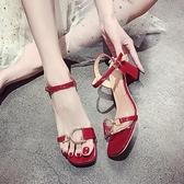 凉鞋-法式少女高跟鞋2020夏季新款晚晚鞋仙女風粗跟時尚百搭羅馬涼鞋女