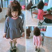 可愛兒童長袖連衣裙 童裝女童針織衫格子毛線裙春秋季寶寶『櫻花小屋』