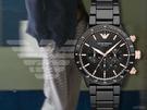 【時間道】EMPORIO ARMANI亞曼尼 時尚運動風三眼計時腕錶/黑面玫瑰金刻黑陶瓷(AR70002)免運費