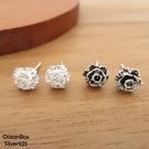 §海洋盒子§立體感中小玫瑰花朵925純銀耳環《 貼耳耳環》