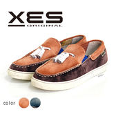 XES 男鞋 休閒鞋 刷色麂皮休閒鞋 簡約時尚風 小流蘇裝飾 拼色設計  深咖啡
