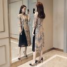 洋裝-七分袖立領雪紡假兩件中國風女連身裙...