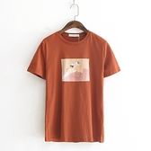 短袖T恤-油畫純色休閒百搭時尚女上衣4色73sy39[巴黎精品]