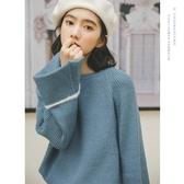 法式慵懶風套頭毛衣女秋冬2019新款寬鬆外穿韓版仙女軟奶藍上衣