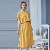【Tiara Tiara】縮口刺繡純棉鬆緊腰長洋裝(藍/黃)