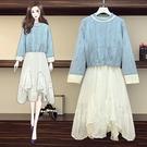 兩件式毛衣連身裙中大尺碼L-4XL新款大碼毛衣外套裝吊帶裙遮肉顯瘦4F056-8398.胖胖唯依