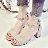 韓版百搭軟妹涼鞋女外穿新款小清新高跟鞋粗跟中跟仙女鞋  卡布奇諾