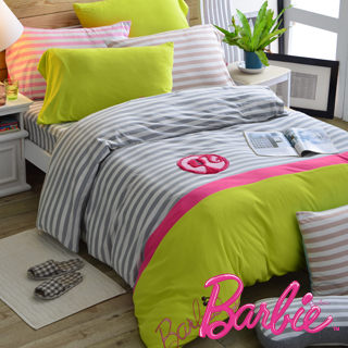 【Barbie】針織棉刺繡加大雙人床包被套四件組《Own Music 獨享樂》