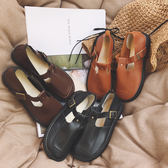 日系復古森女圓頭娃娃鞋單鞋學院風女鞋英倫風小皮鞋平底丁字鞋女【無趣工社】
