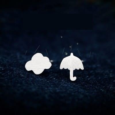 925純銀耳環(耳針式)-清新雲朵雨傘情人節生日禮物女飾品73dr130【時尚巴黎】