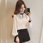 VK精品服飾 韓國風V領掛脖小心機設計皺雪紡襯衫長袖上衣