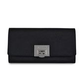 MICHAEL KORS專櫃款 十字紋防刮皮革金屬LOGO皮革扣式長夾-黑色
