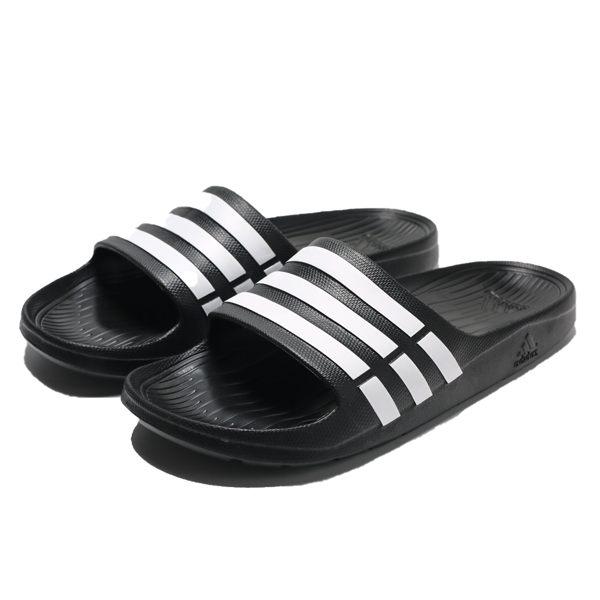 ADIDAS DURAMO SLIDE 黑白條 防水 膠拖 拖鞋 男 (布魯克林) G15890