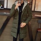 夾克外套-連帽冬季保暖中長版純色夾棉男外套2色73qa13【時尚巴黎】