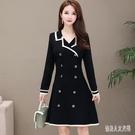 新款秋冬大碼A字裙雙排扣連身裙女裝胖妹妹氣質黑色OL職業洋裝 yu10293『俏美人大尺碼』