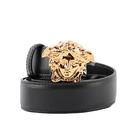 【Versace】PALAZZO 金色梅杜莎釦頭平滑皮革80/85/90cm 皮帶(黑色) DCDD442 DVTFN KVO41