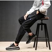 縮口褲 潮牌工裝褲男修身多口袋休閒秋冬束腳收口大碼小腳多袋縮腿收腳褲