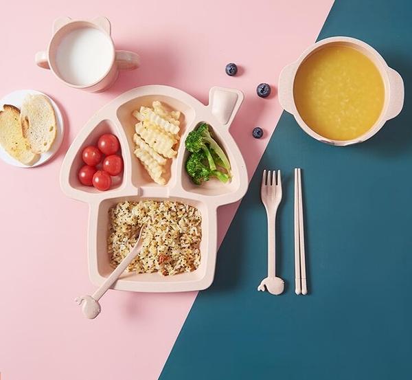 兒童餐盤 餐盤兒童餐盤吃飯小孩輔食盤兒童園卡通分格防摔餐具套裝【快速出貨八折搶購】