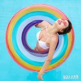 游泳圈 2019新款充氣加腳泵彩色糖果色救生圈 FR13353『俏美人大尺碼』