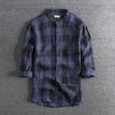 長袖襯衫 新款日系復古 水洗亞麻面料襯衣個性青年立領男士七分袖襯衫男