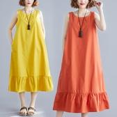 夏季新款女裝文藝寬松大碼洋裝 無袖背心長裙休閒百搭荷葉邊棉麻連衣裙 快速出貨
