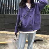 早秋季韓版新款寬鬆V領慵懶上衣女外穿長袖針織開衫毛衣外套