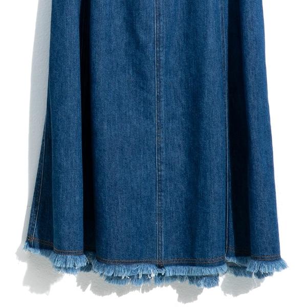 單一優惠價[H2O]多片裙剪接顯瘦大波浪牛仔長裙 - 白/牛仔藍/咖色 #0682008