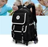 大容量拉桿書包三輪爬樓男中學生輪式背包拖背兩用後背包女手拉箱 QM 美芭