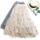 中大尺碼 網紗半身裙夏女2018新款高腰中長款刺繡款 JA2337『時尚玩家』