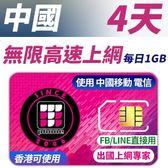 【TPHONE上網專家】中國無限高速上網 4天 每天前面1GB支援高速 使用中國移動訊號 香港也可以用