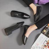 2019春新款淺口單鞋中跟小皮鞋學生尖頭軟底女鞋黑色低跟工作鞋子 西城故事