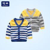 男童針織衫開衫春裝新款條紋毛衣小童寶寶毛衣
