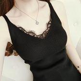 吊帶背心女免運新款夏季百搭蕾絲邊V領針織打底衫修身T恤上衣小衫