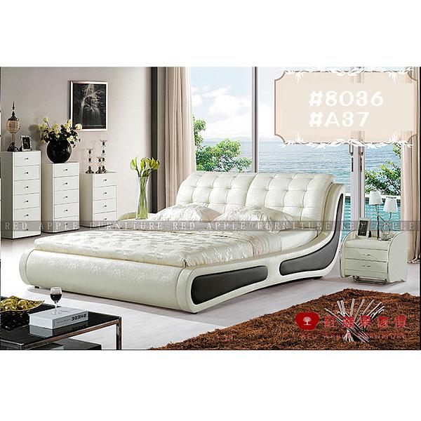 [紅蘋果傢俱] LW 8036 6尺真皮軟床 頭層皮床 皮藝床 皮床 雙人床 歐式床台 實木床