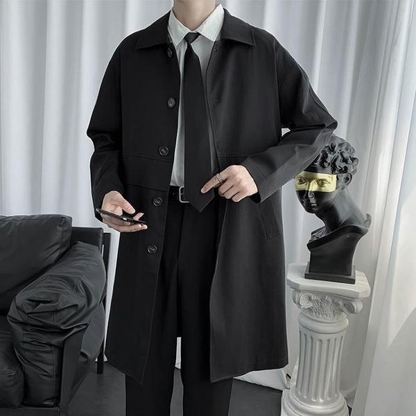 2020秋季新款中長款風衣男休閒百搭帥氣潮流港風日系寬鬆西裝外套 黛尼時尚精品