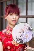 唐寶-衣十六-漢清旗袍-紅色富貴吉祥牡丹花結婚文定專用款精美打版製作手工縫製