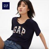 Gap女裝 LOGO舒適純棉V領短袖T恤 215885-海軍藍色