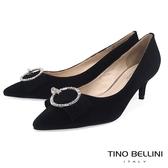 Tino Bellini秀麗閃鑽飾釦全真皮低跟鞋 _ 黑 B79254