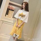春夏季女裝韓版字母短袖t恤休閒套裝女荷葉邊中長款半身裙兩件套  ciyo黛雅