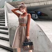 精選38折 韓系寬鬆修身紐扣裙系帶顯瘦套裝長袖裙裝