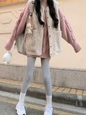 秋冬韓版新款仿羊羔毛加厚保暖背心寬鬆外穿保暖馬甲女兩件套 雅楓居
